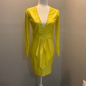 Yellow mini, Club dress with open mid back,Vplunge